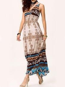 Multicolor V Neck Sleeveless Bohemia Dress