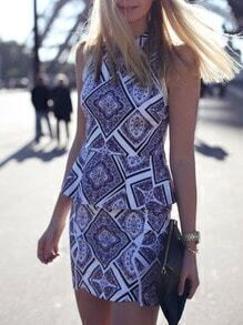 Blue Sleeveless Lapel Geometric Print Dress