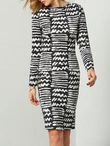 Black White Round Neck Geometric Print Dress Dress