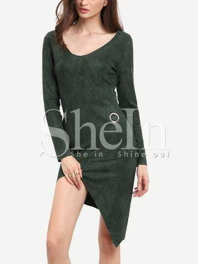 Dark Green Long Sleeve Asymmetric Dress
