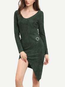 Dark Green Long Sleeve Asymmetric Dress