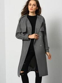 Grey Pockets Belt Coat