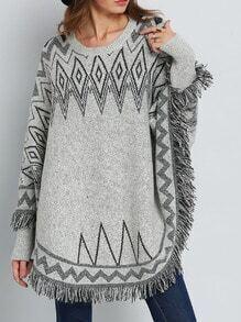 Grey Long Sleeve Geometric Print Tassel Sweater