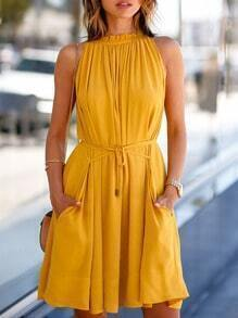 Yellow Sleeveless Pockets Dress