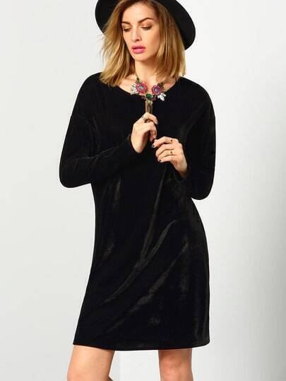 Black Long Sleeve Round Neck Casual Dress pictures