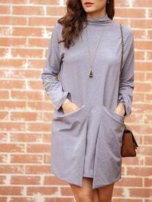 Grey Round Neck Pockets Dress