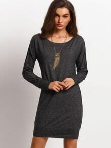 Grey Long Sleeve Round Neck Dress