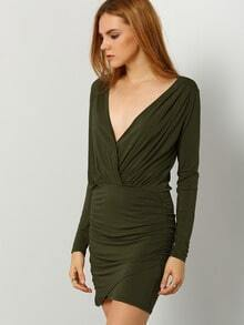 Army Green Long Sleeve Deep V Neck Bodycon Dress
