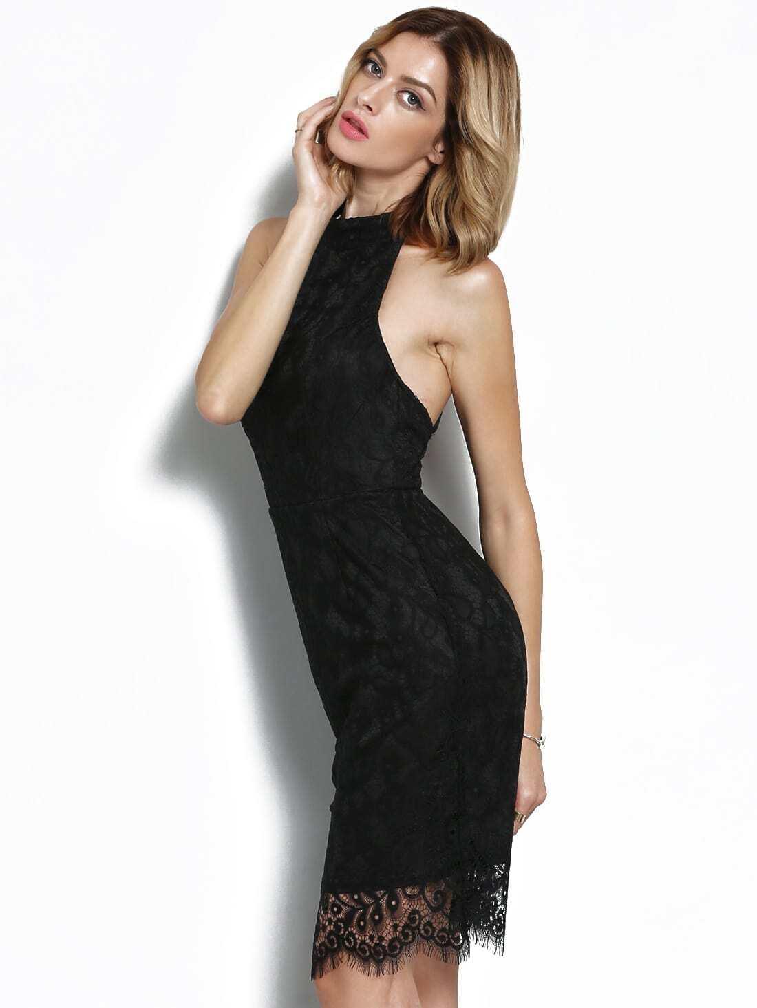 Black Halter Backless Lace Dress