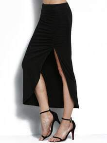 Black Elastic Waist Slit Folds Skirt