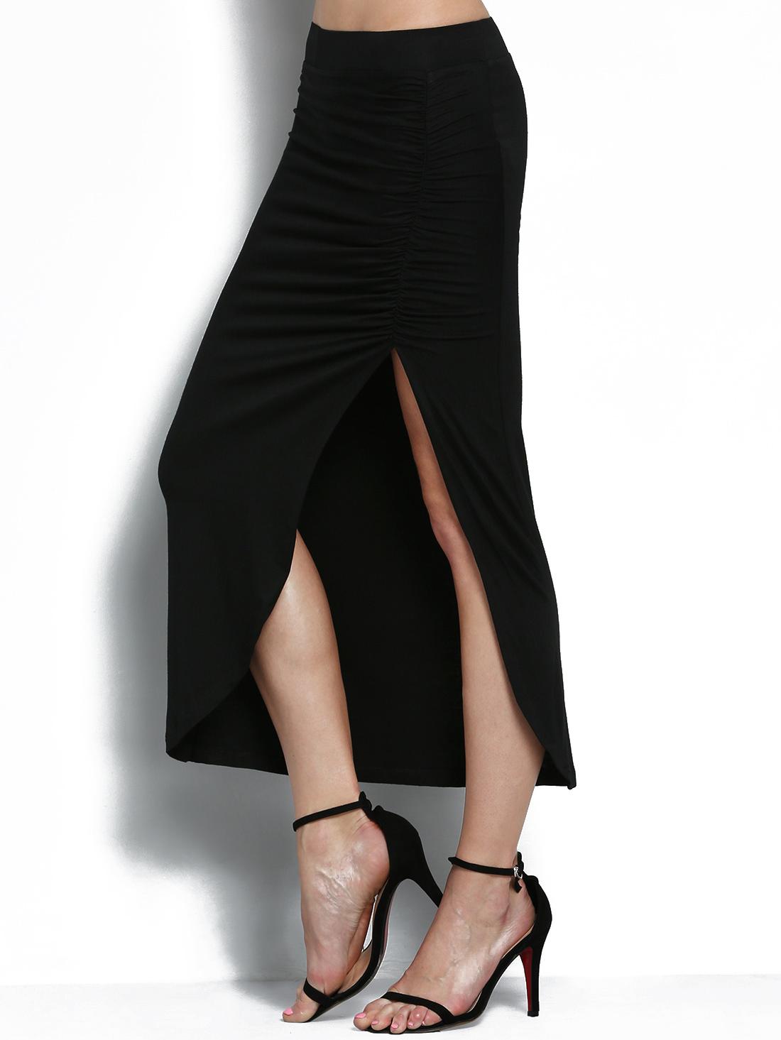 Black Elastic Waist Slit Folds Skirt