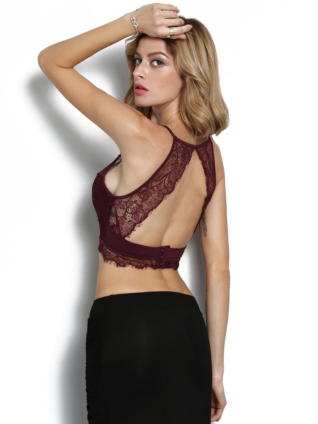 Burgundy Halter Open Back Lace Lingerie