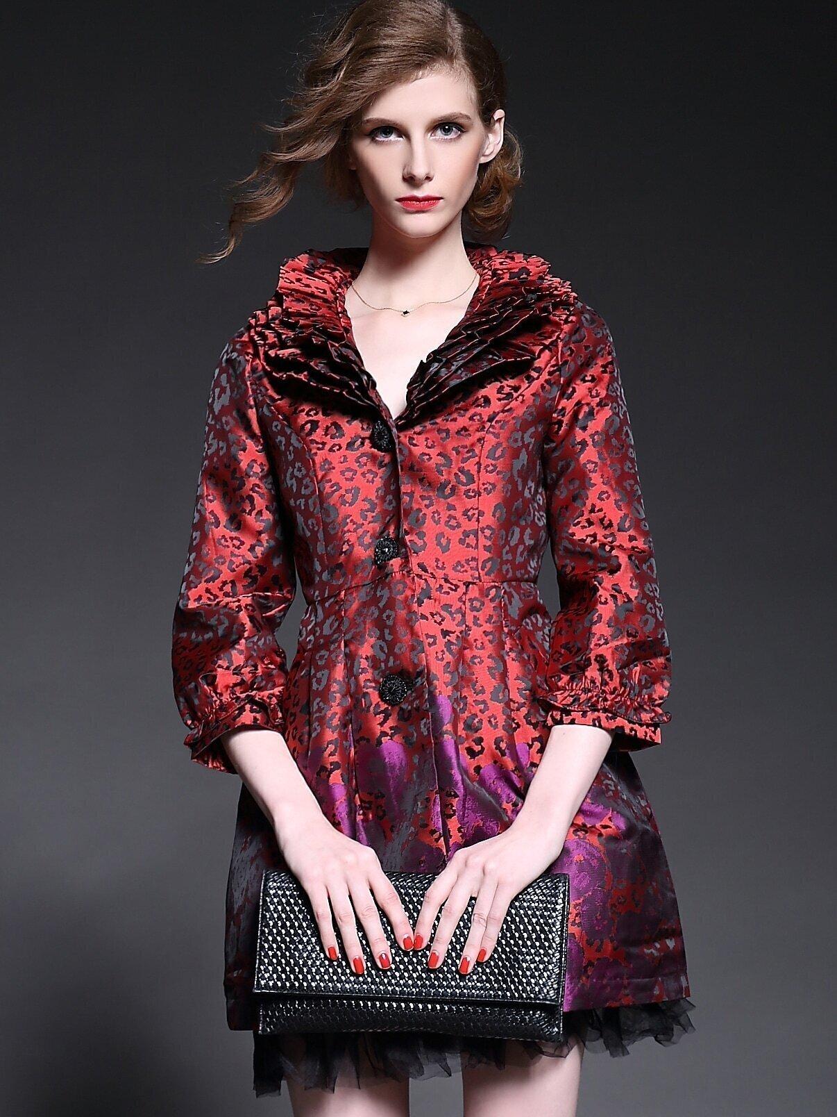 Red V Neck Length Sleeve Contrast Gauze Pockets Print Coat