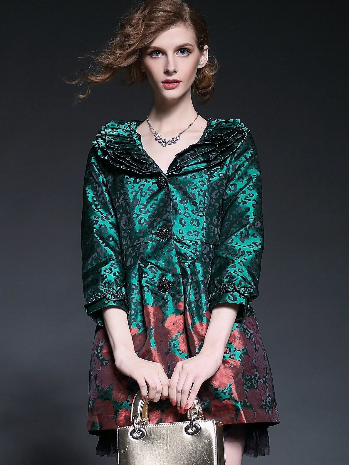 Green V Neck Length Sleeve Contrast Gauze Pockets Print Coat