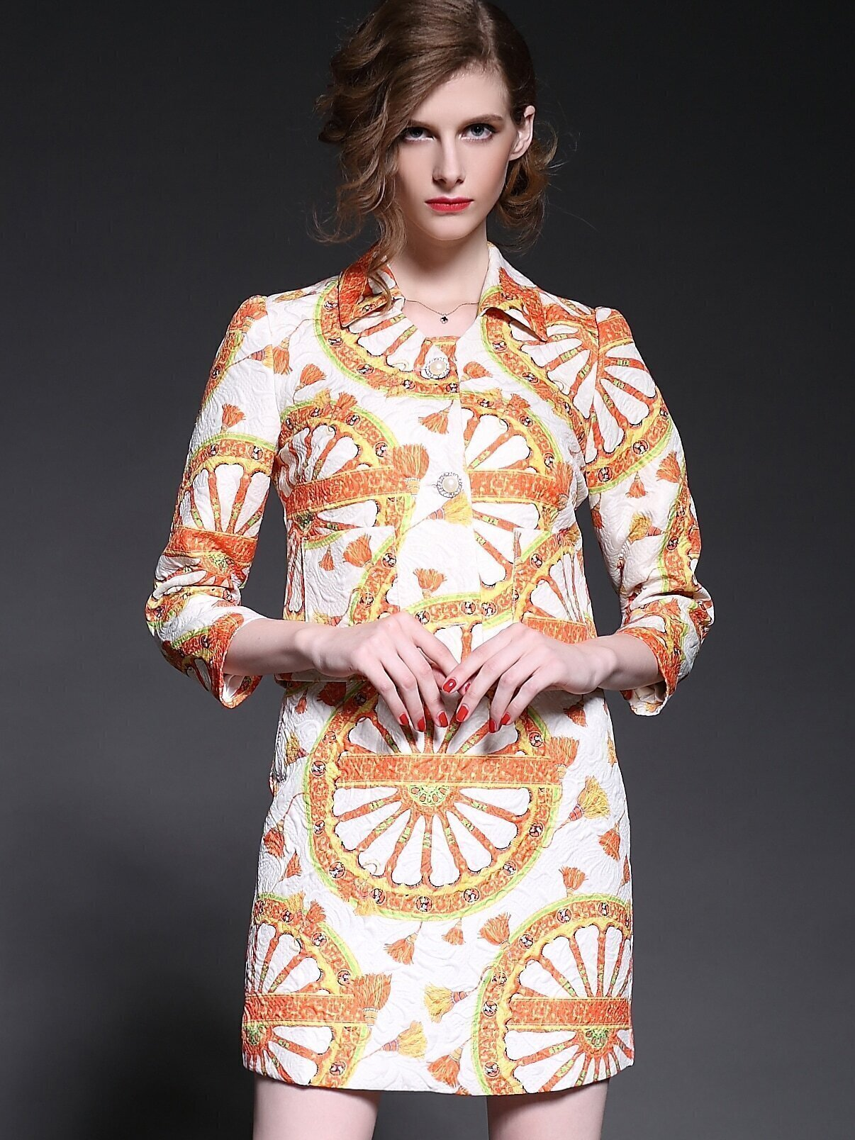 Orange Lapel Length Sleeve Jacquard Two Pieces Dress