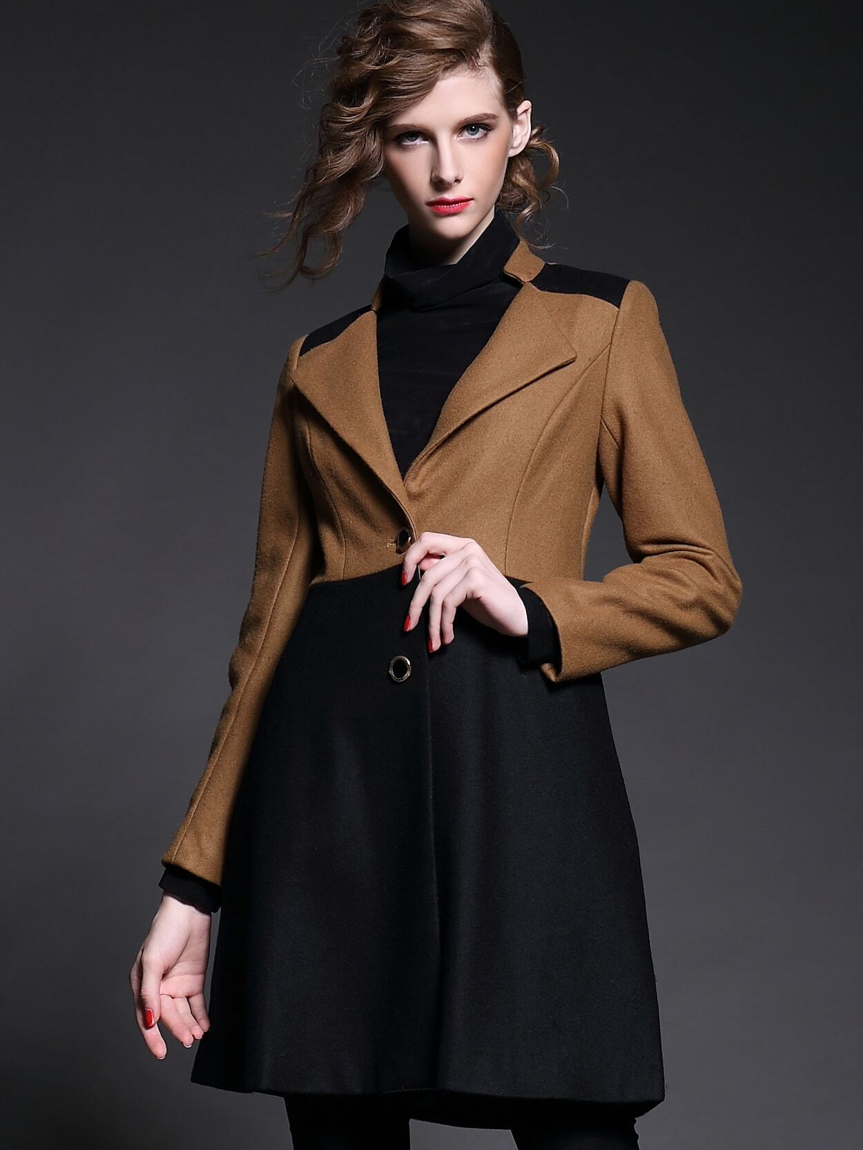 Camel Black V Neck Long Sleeve Coat