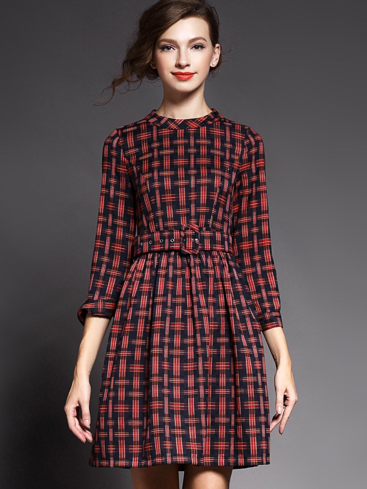 Red Round Neck Length Sleeve Drawstring Print Dress