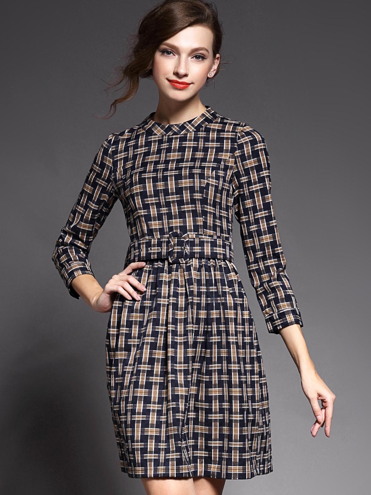 Khaki Round Neck Length Sleeve Drawstring Print Dress