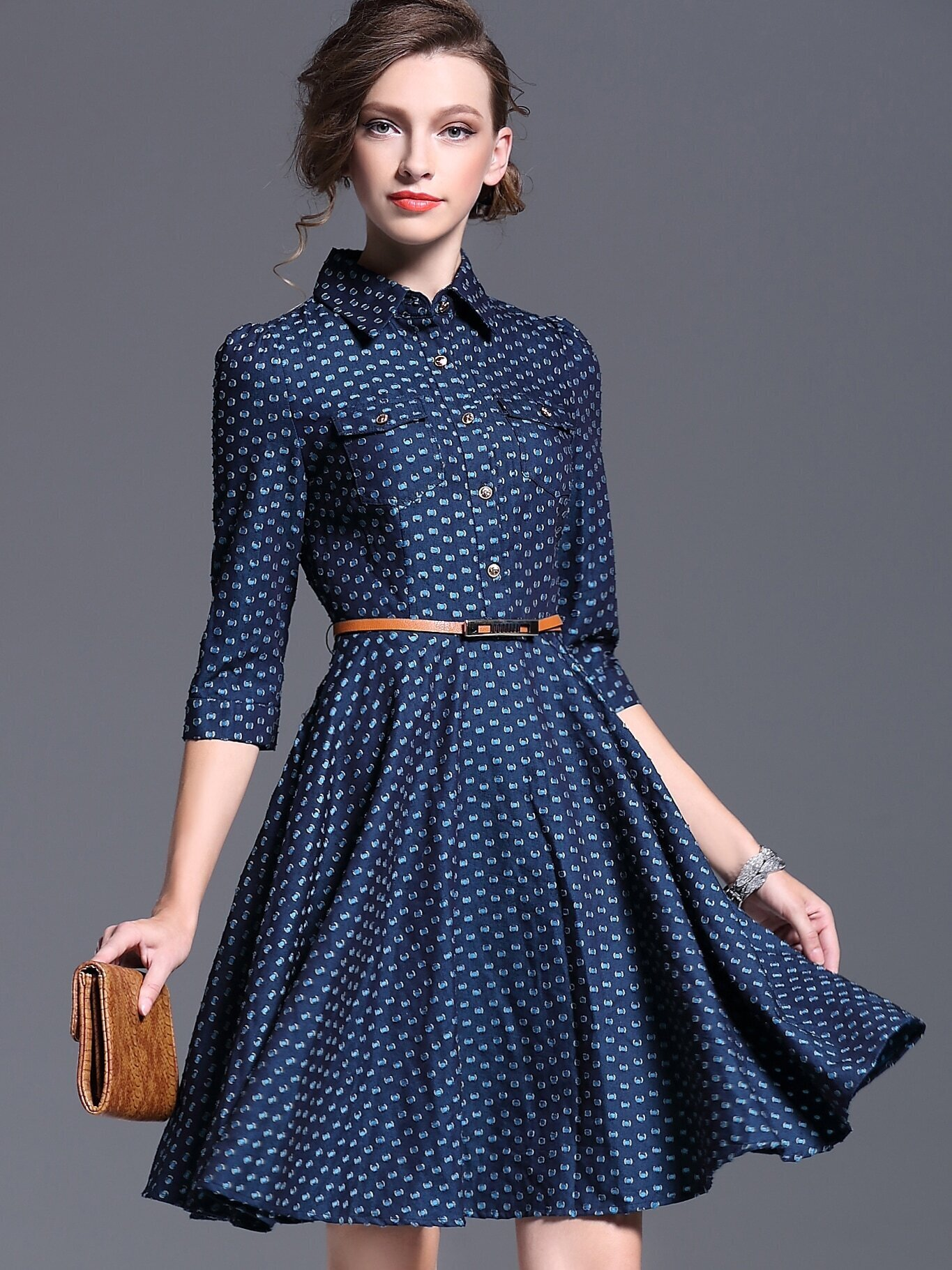 Blue Lapel Length Sleeve Drawstring Print Dress