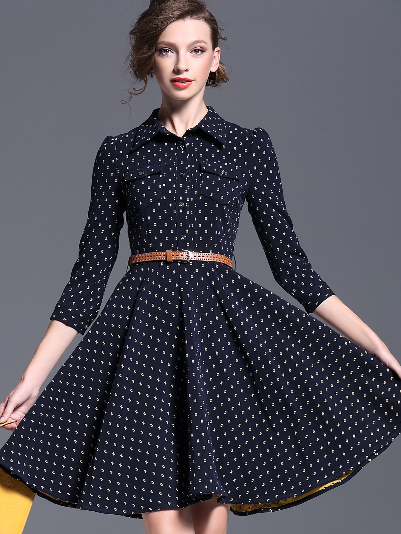 Navy Lapel Length Sleeve Drawstring Print Dress