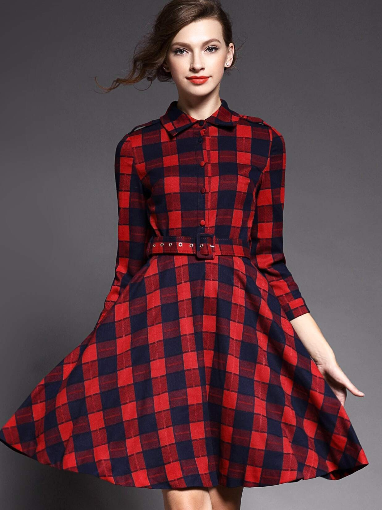 Red Lapel Length Sleeve Drawstring Print Dress