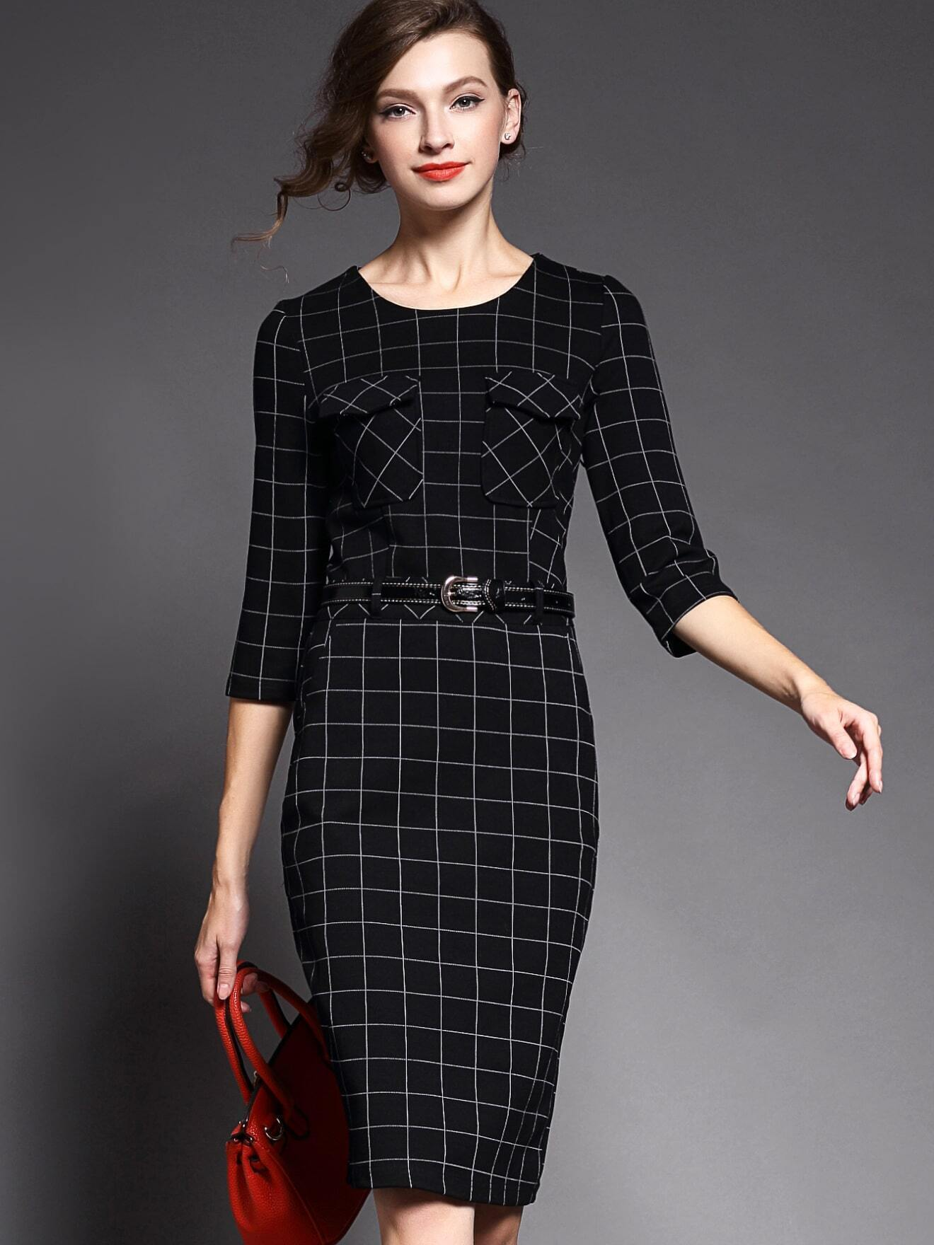 Black Round Neck Length Sleeve Knit Drawstring Print Dress