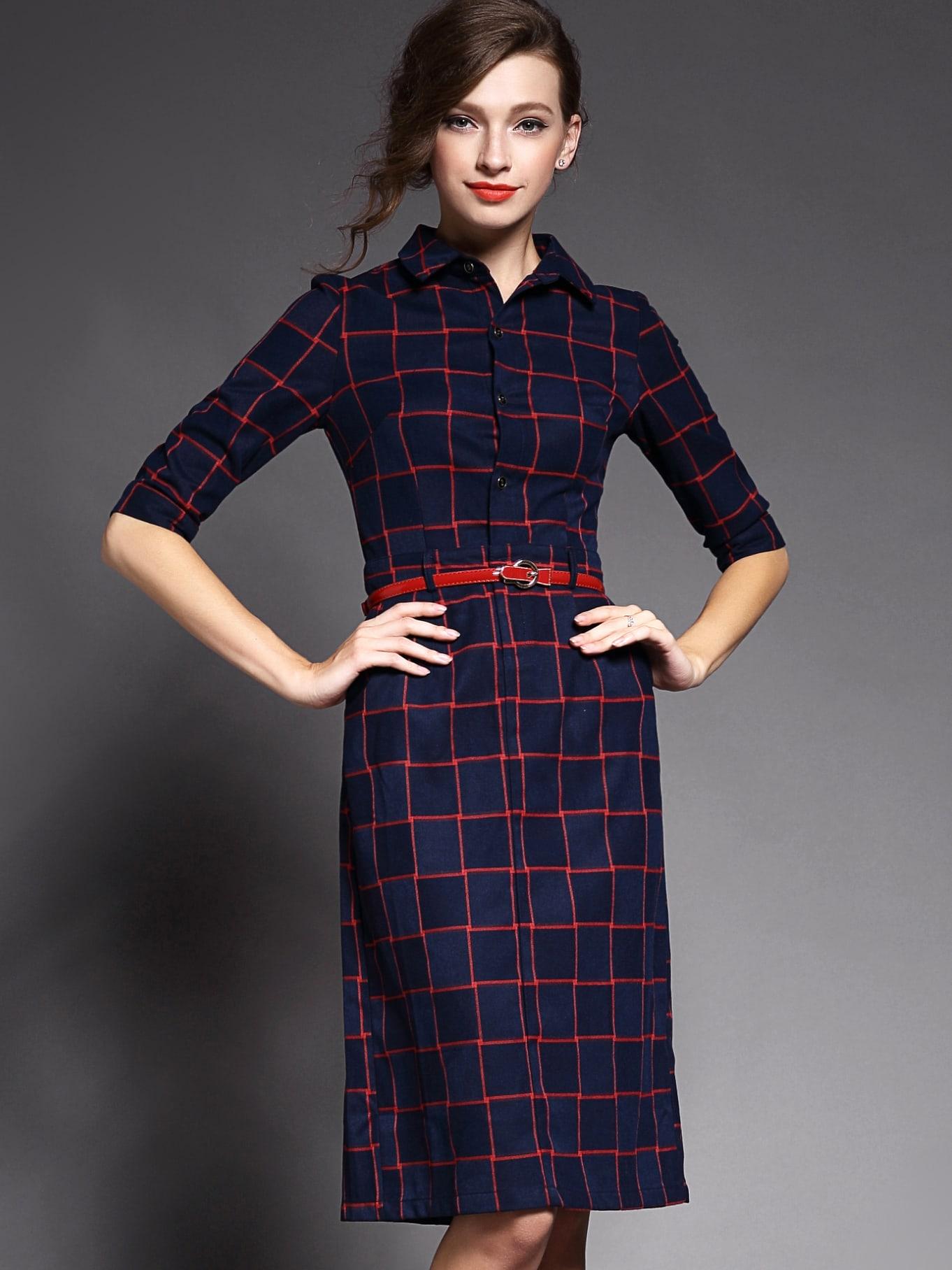 Navy Lapel Half Sleeve Drawstring Pockets Dress