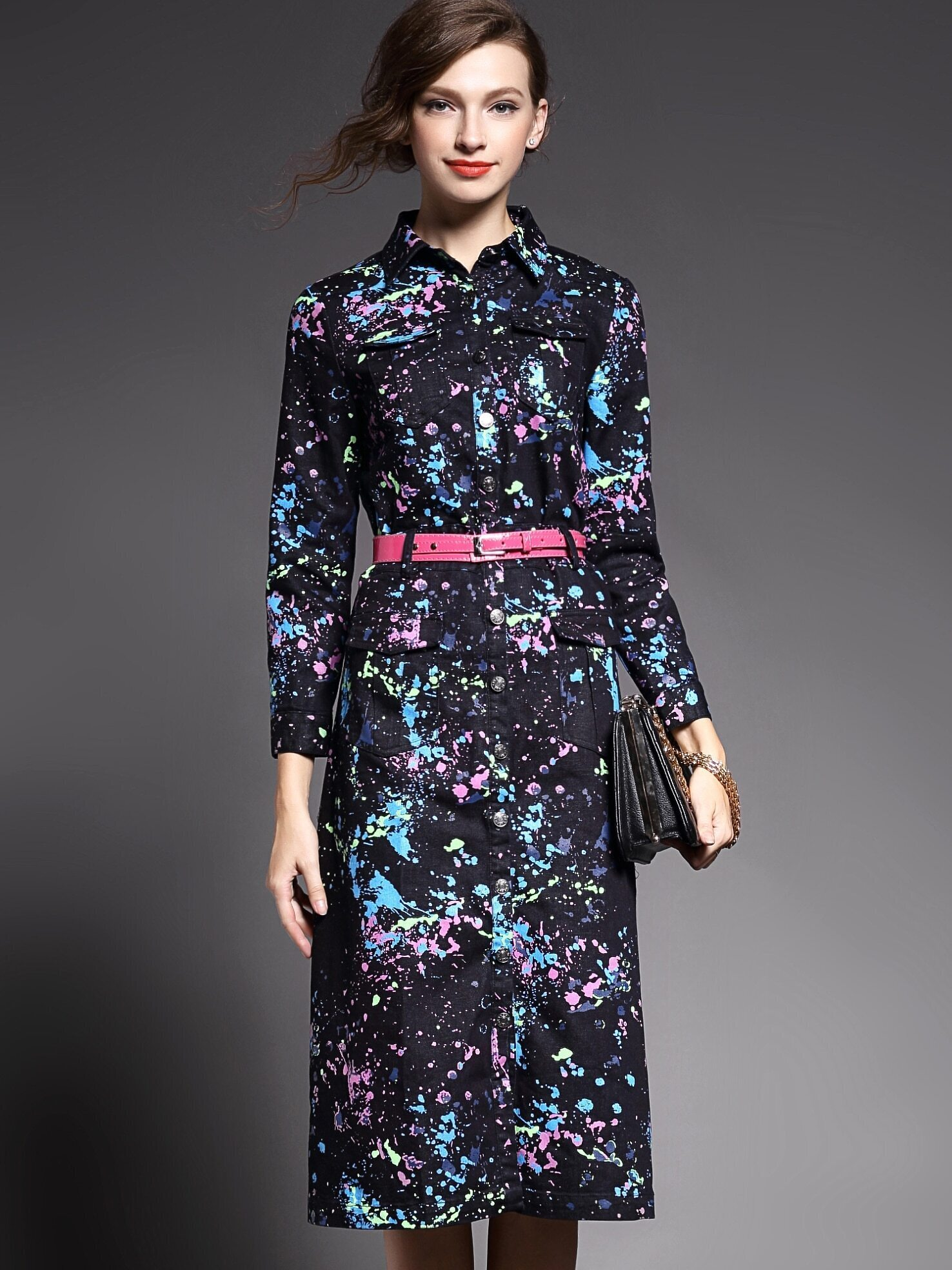 Multicolor Lapel Long Sleeve Drawstring Pockets Print Dress