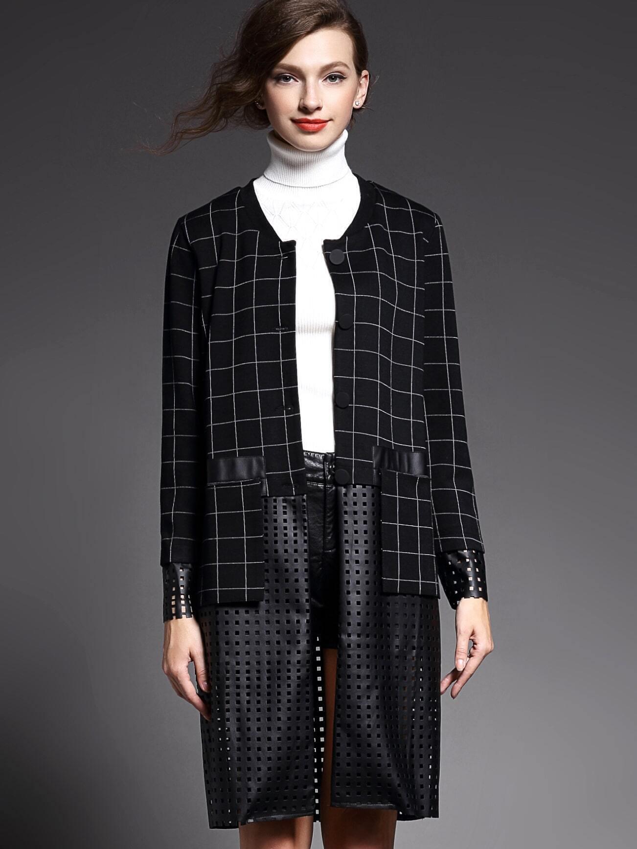 Black Round Neck Long Sleeve Contrast Pu Pockets Coat