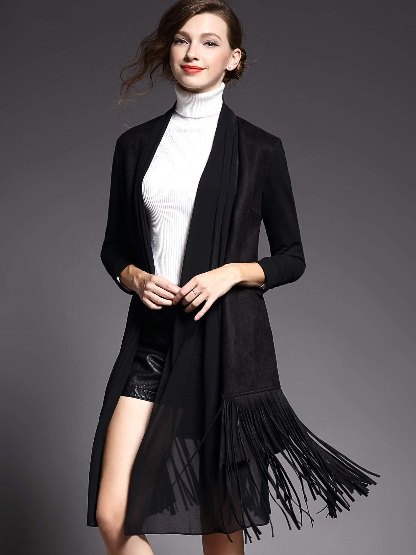 Black Long Sleeve Contrast Gauze Tassel Pockets Coat