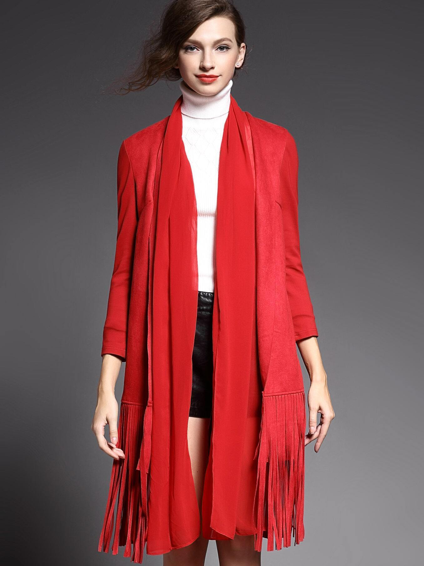 Red Long Sleeve Contrast Gauze Tassel Pockets Coat