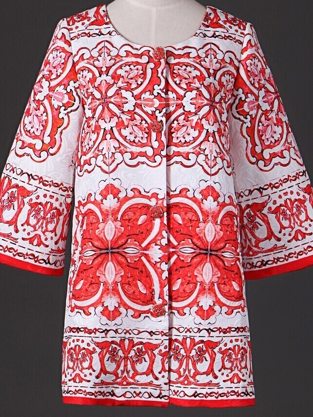 Red Round Neck Length Sleeve Print Pockets Coat