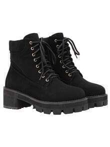 Black Round Toe Lace Up Boots
