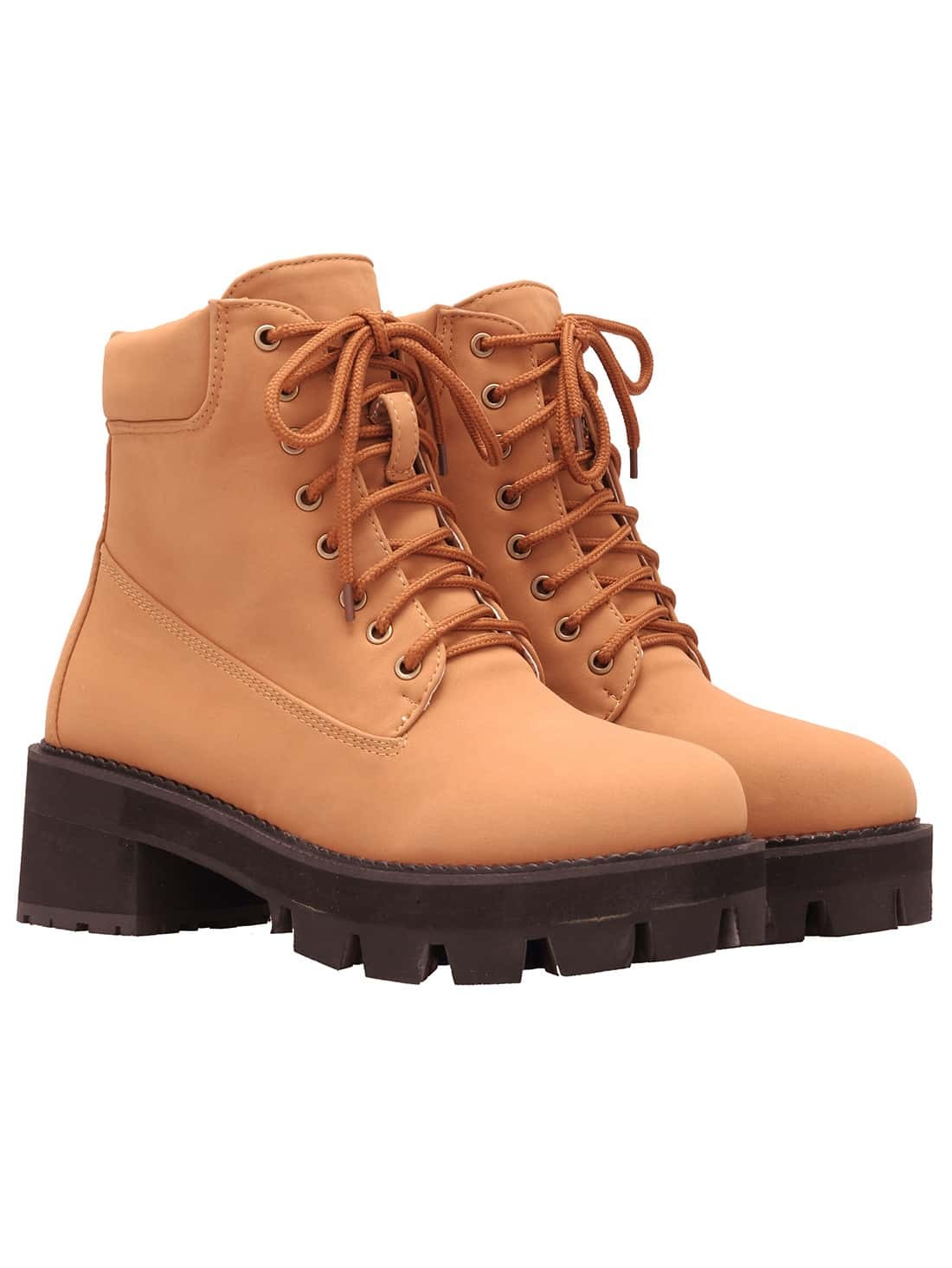 Yellow Round Toe Lace Up Boots