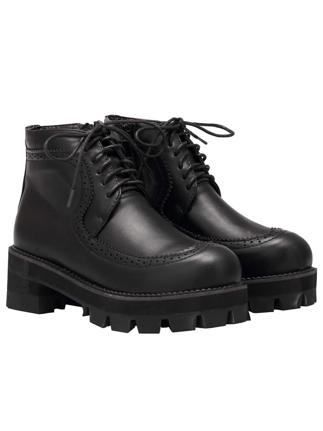 Black Round Toe Lace Up PU Boots