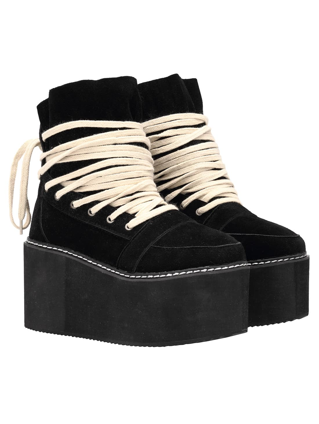Black Lace Up Heavy-bottomed Boots