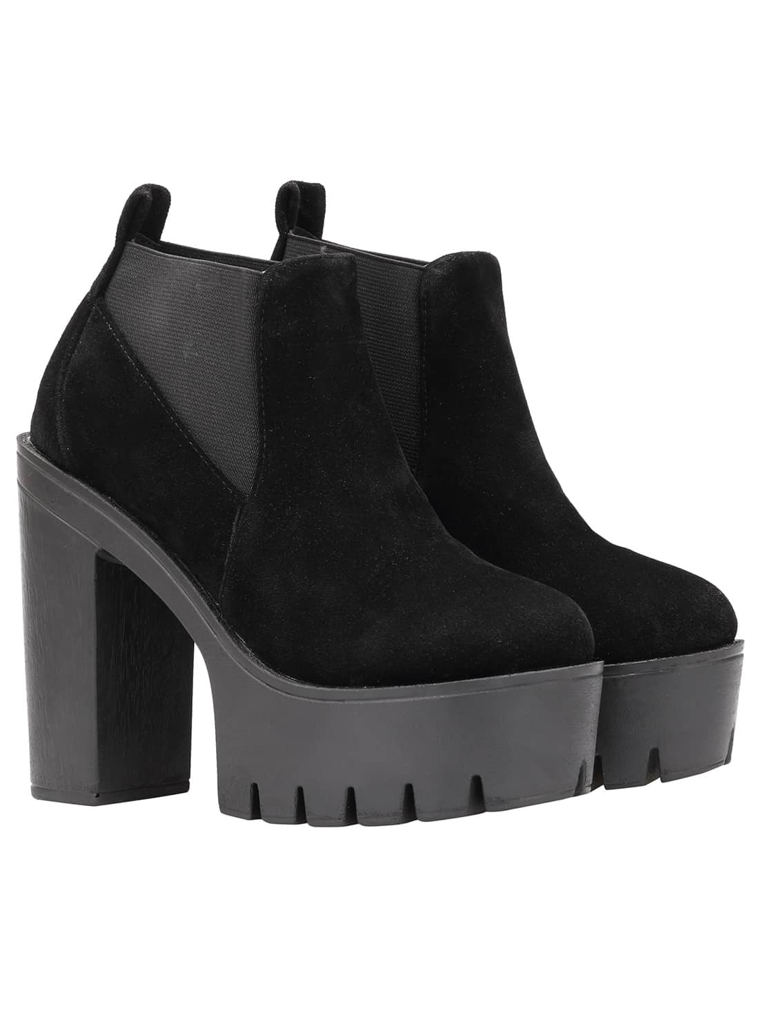 Black Round Toe Elastic High Heeled Boots