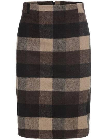 Khaki Plaid Split Skirt