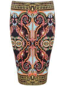 Multicolor Vintage Floral Skinny Skirt