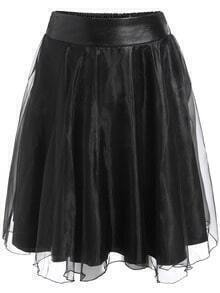 Black Sheer Mesh PU Skirt