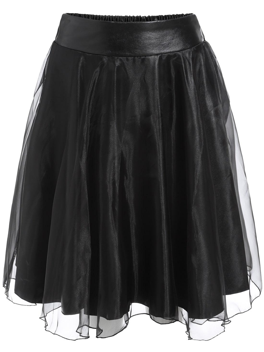 Black Sheer Mesh PU Skirt