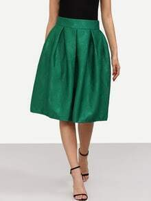 Green Jacquard Flare Midi Skirt