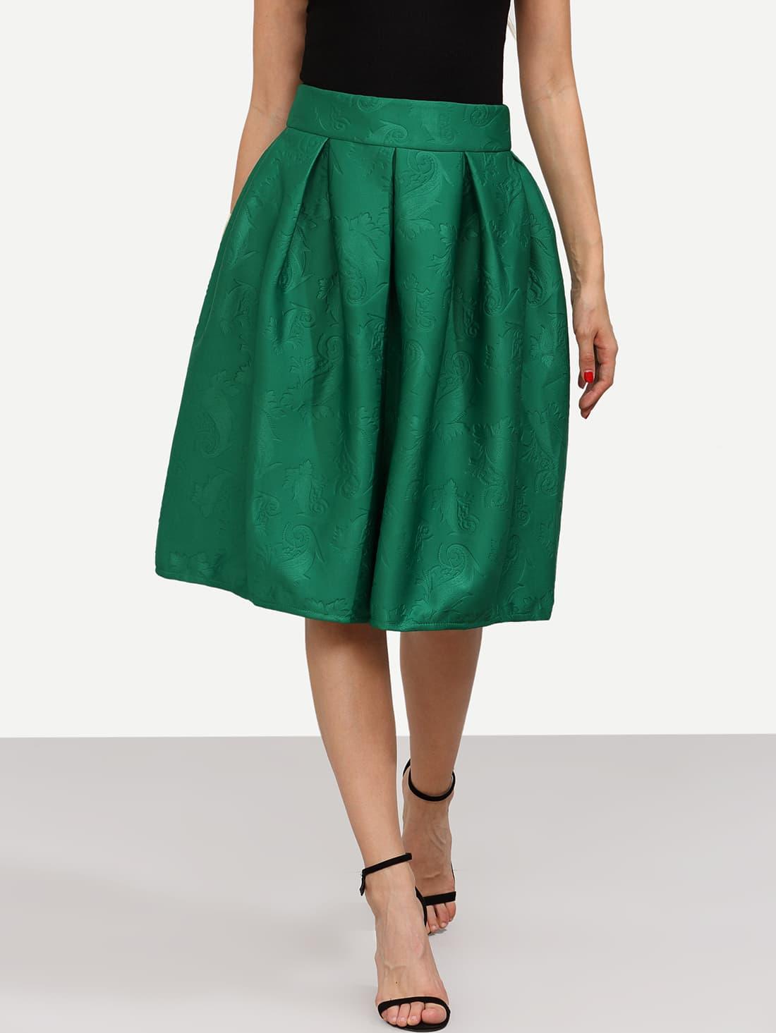 Green Jacquard Flare Midi Skirt -SheIn(Sheinside)