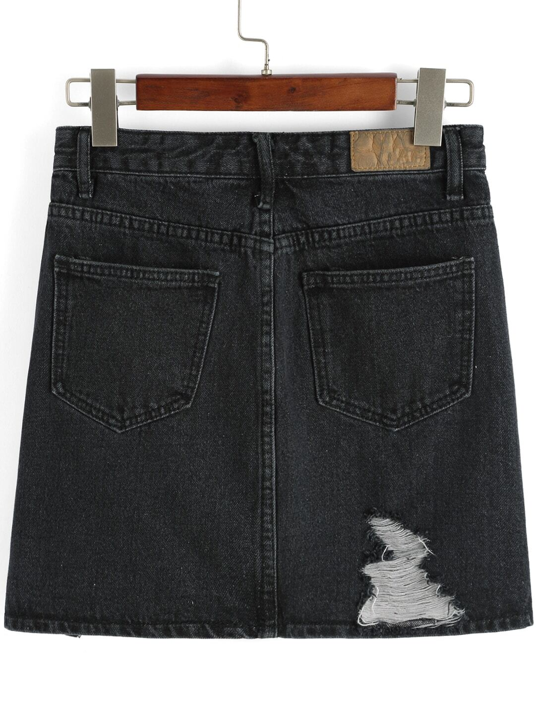 jupe en jean d chir avec poches noir french shein sheinside. Black Bedroom Furniture Sets. Home Design Ideas