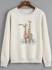 Light Grey Round Neck Giraffe Print Sweatshirt