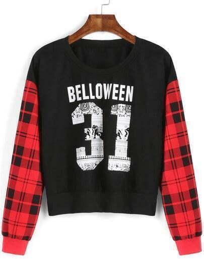 Black Red Letters 31 Print Plaid Crop Sweatshirt