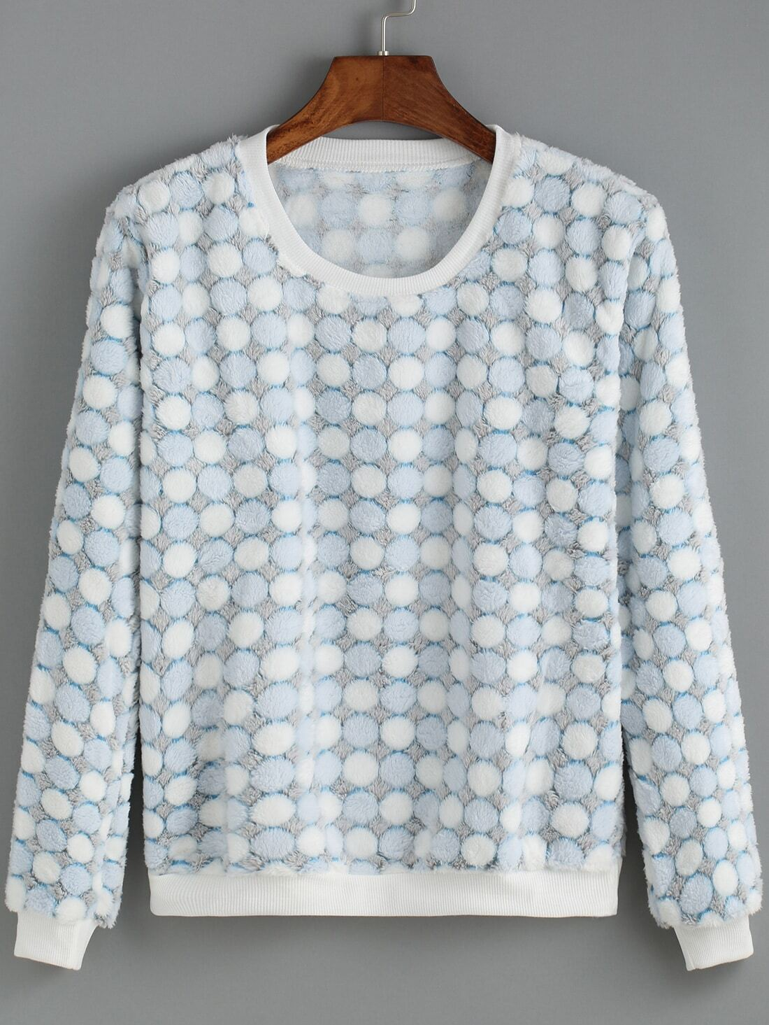 Blue Round Neck Polka Dot Sweatshirt