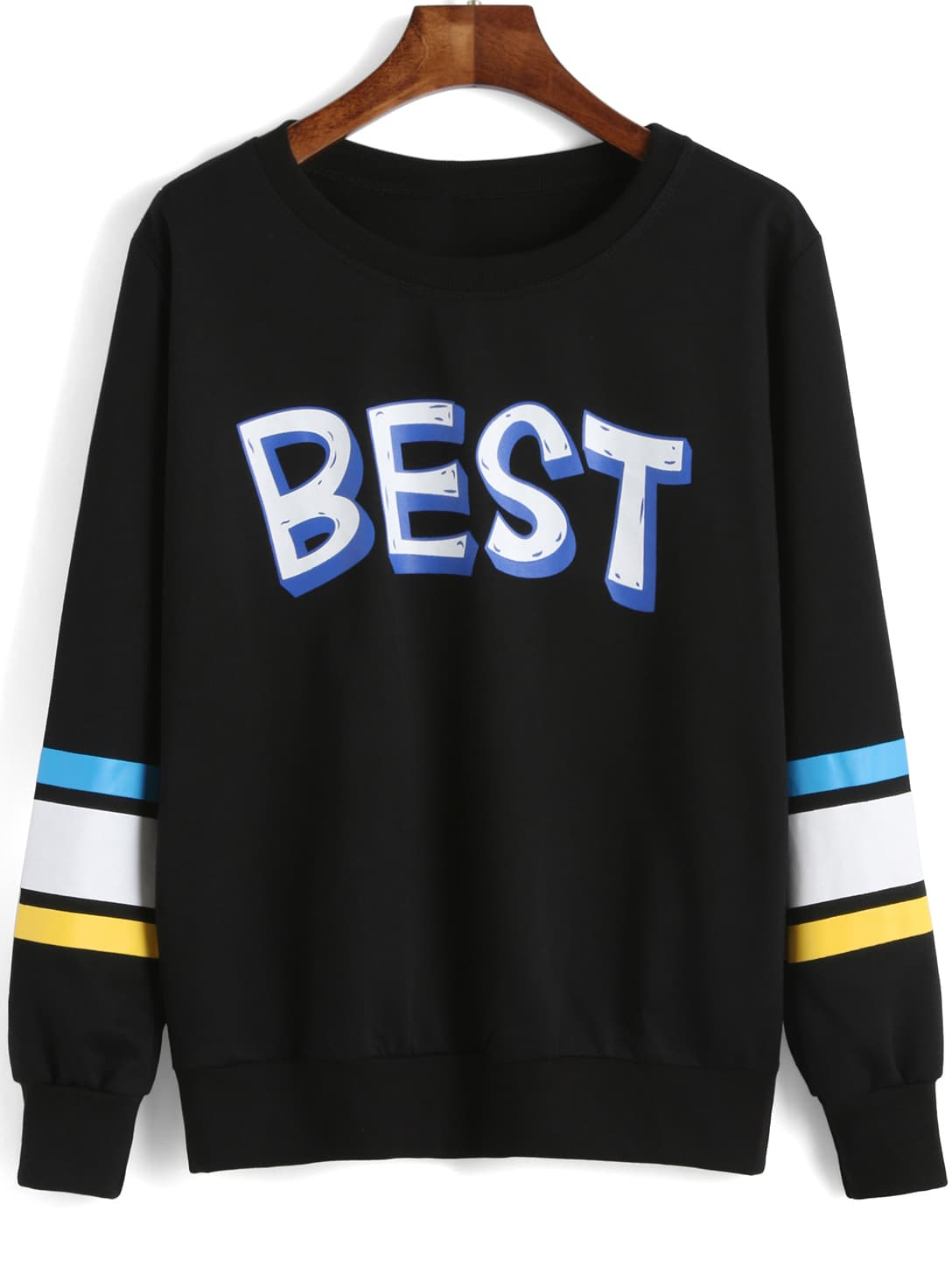 Black Round Neck BEST Print Striped Sweatshirt