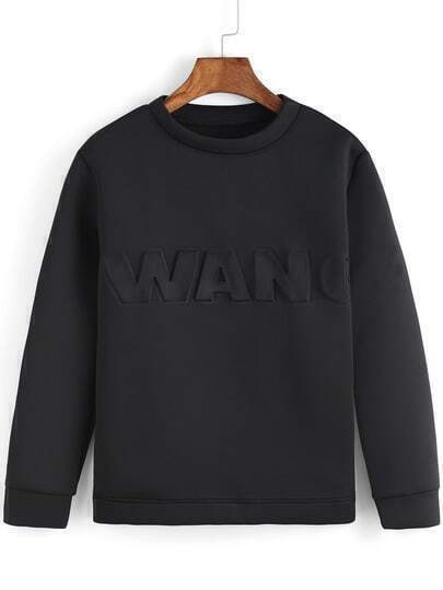 Black Round Neck WANG Pattern Sweatshirt