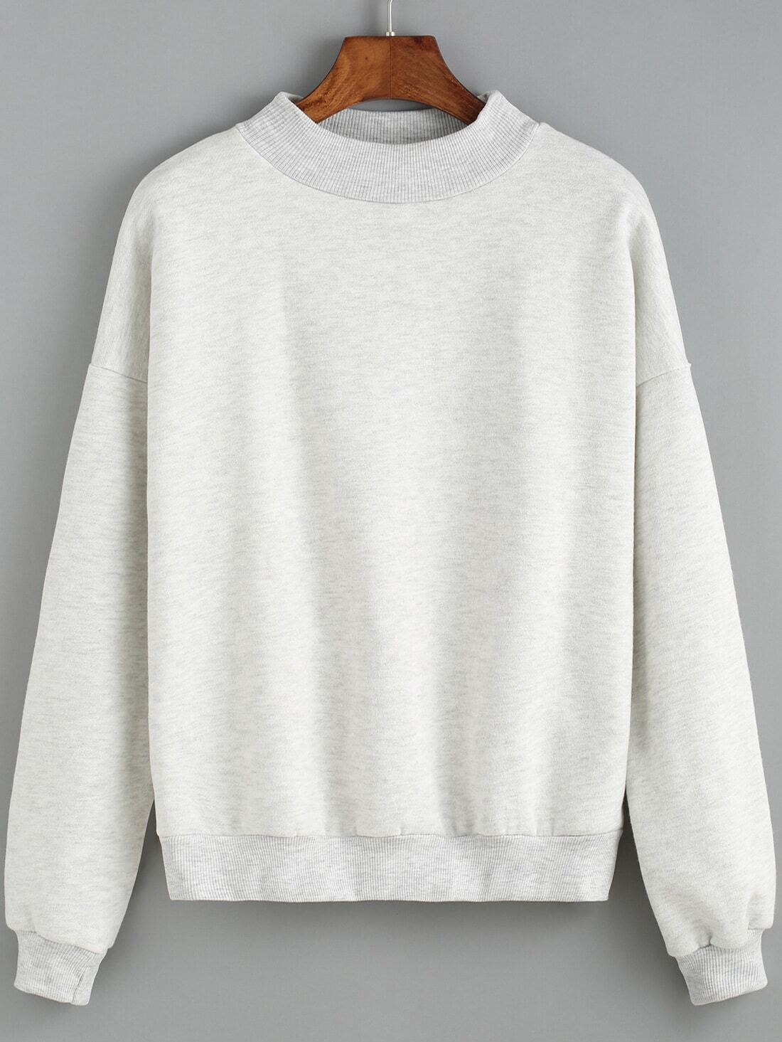 Light Grey Round Neck Crop Sweatshirt